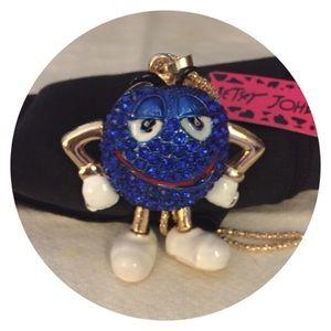 Hot Blue Crystal Enamel Mr  Chocolate Pendant